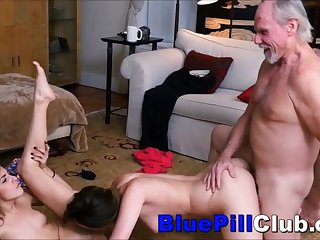 Stunning Teenager Lesbians Sex Party With Two Old Grandpas