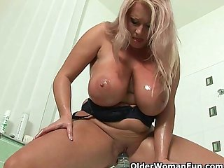 BBW moms with massive tits fuck their mature pussy with a dildo