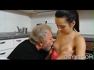 Crazy old guy fucks young cutie