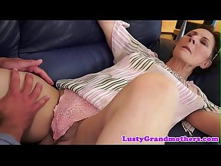 Hairy grandma gets creampied by young guy